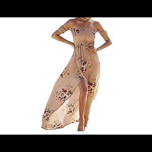 Khaki floral print maxi dress